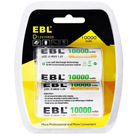 2 Counts High Capacity D Cell Rechargeable Batteries