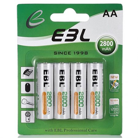 EBL® 4 Pack 2800mAh AA Rechargeable Batteries High Capacity