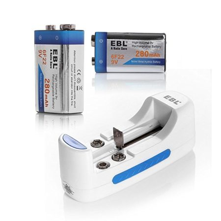 EBL Universal Charger for AA AAA 18650 9V Rechargeable Battery with 2 Pack 9V 280mAh Ni-MH Rechargeable Battery
