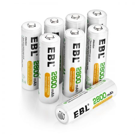8 Pack Rechargeable 1.2 V NiMH AA Batteries