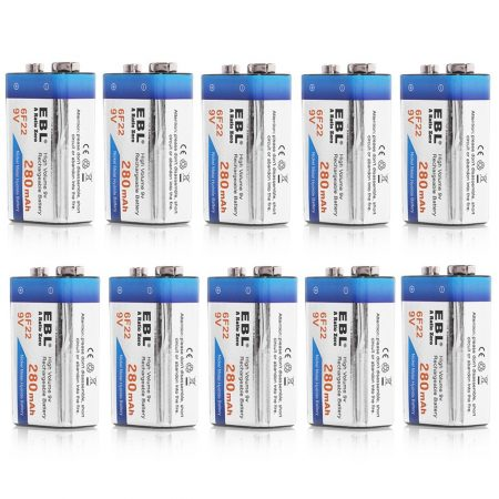 EBL Rechargeable Square 9V Cell Battery 10 Counts