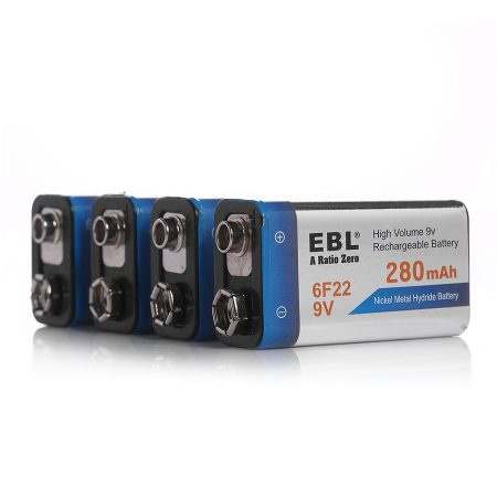 EBL 9 Volt Rechargeable Batteries 4 Packs