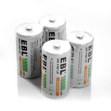 EBL NiMH Rechargeable D Batteries 4 Pack for GPS / LED Lighting Devices