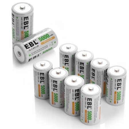 5000mAh NiMH Rechargeable C Batteries 10 Pack