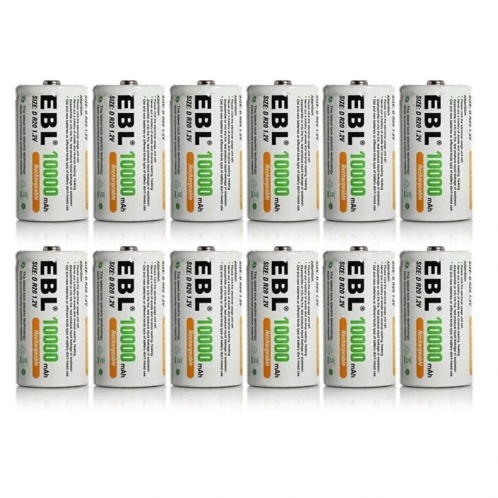 High Capacity Rechargeable Batteries D Cell