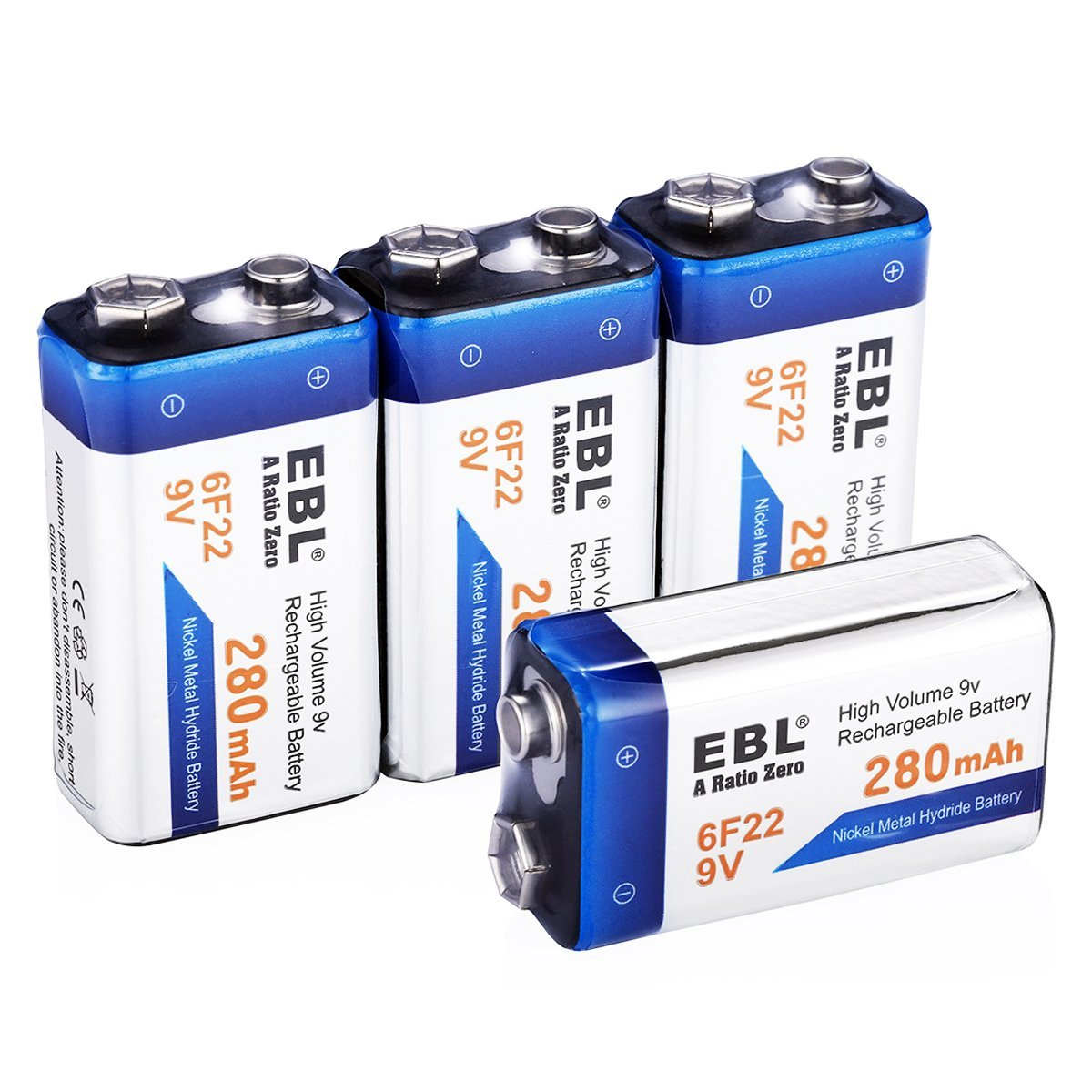 ebl 15 pack 280mah rechargeable 9v batteries without memory effect eblmall official site. Black Bedroom Furniture Sets. Home Design Ideas