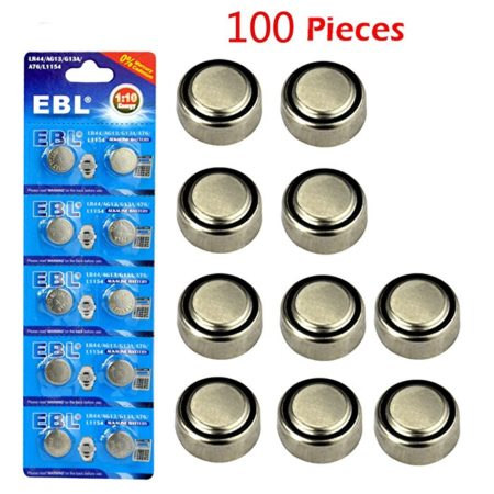 EBL Button Cell Alkaline Batteries, 100 Pieces for LR44 AG13 G13A A76 L1154