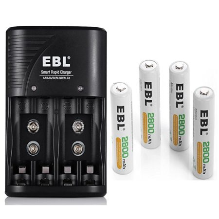 EBL Battery Charger for AA, AAA, 9V Ni-MH Ni-CD Rechargeable Batteries with 2800mAh AA Rechargeable Battery – 4-Count