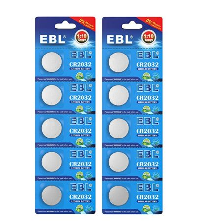 EBL 10-Count 3V CR2032 DL2032 ECR2032 Lithium Coin Button Batteries for Watch Electronics