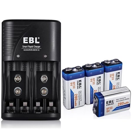 EBL Battery Charger for AA, AAA, 9V Ni-MH Ni-CD Rechargeable Batteries with 4-Count 280mAh Ni-MH 9V Rechargeable Batteries