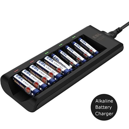 EBL 10-Bay Alkaline Battery Charger for Disposable AA AAA Alkaline Battery (Batteries Not Included)