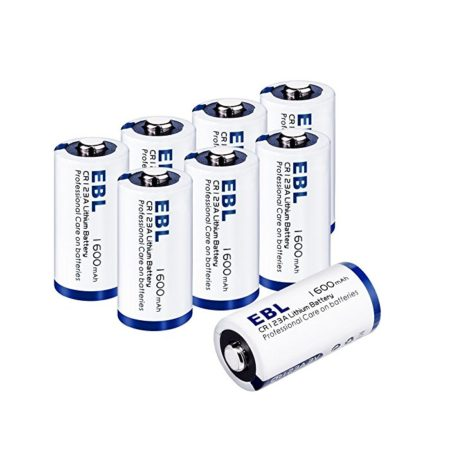 EBL 1600mAh Lithium CR123A 3V Batteries with Storage Case- 8-Count