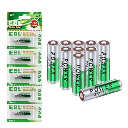 EBL Eco-friendly Alkaline Batteries with High Energy, A27 27A 12V, 10-Count