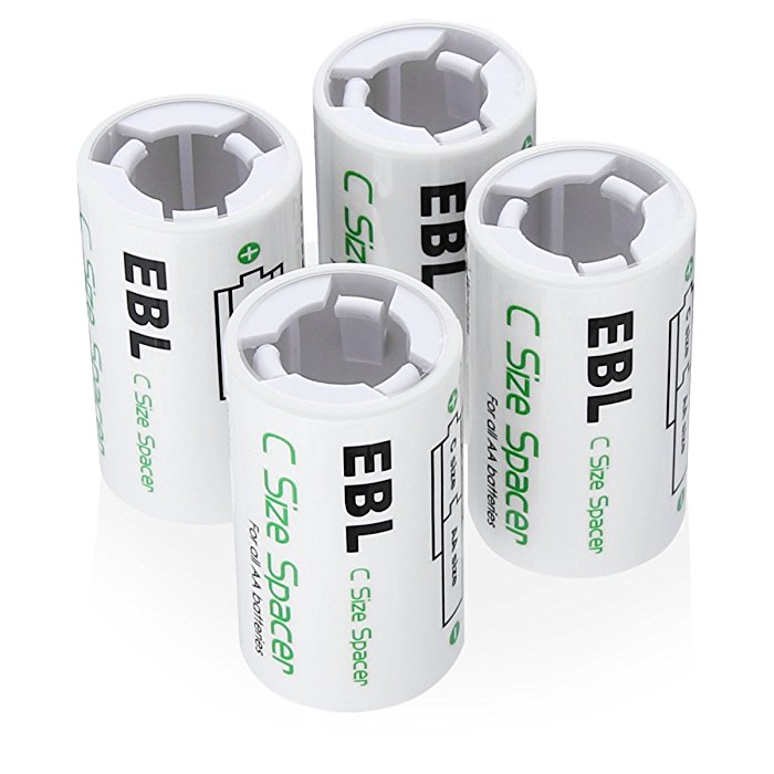 4-Pack C Size Spacers for Alkaline Ni-CD Ni-MH AA Rechargeable Batteries