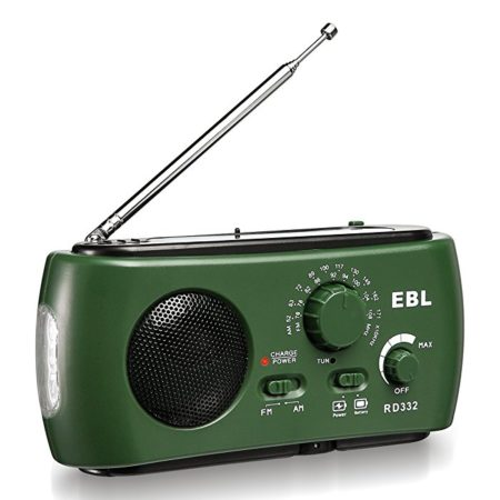 EBL Emergency Weather Radio Multifunctional Dynamo Solar Hand Crank Radio Self Powered Weather Radio with Flashlight AM FM, USB Output Port, Reading Camp