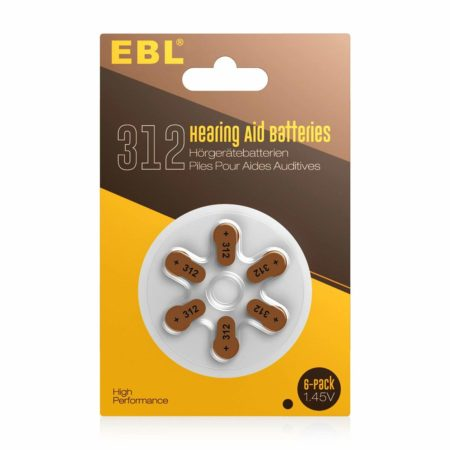 Brown Mercury Free Hearing Aid Batteries 312