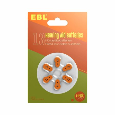 Zinc Air Hearing Aid Batteries Size 13 Orange