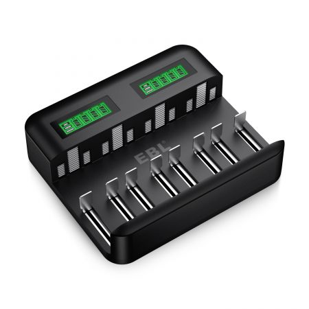 EBL LCD Universal Battery Charger – 8 Bay AA AAA C D Battery Charger