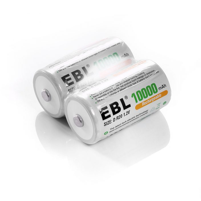 High Capacity D Cell NiMH Rechargeable Batteries