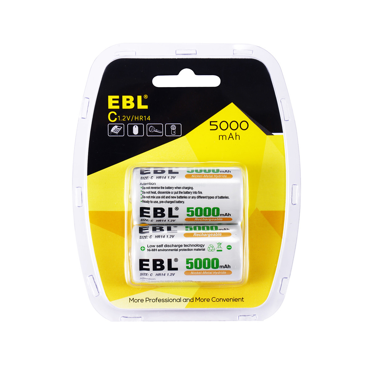 2 Counts EBL C Size Rechargeable Batteries with New Retail ...