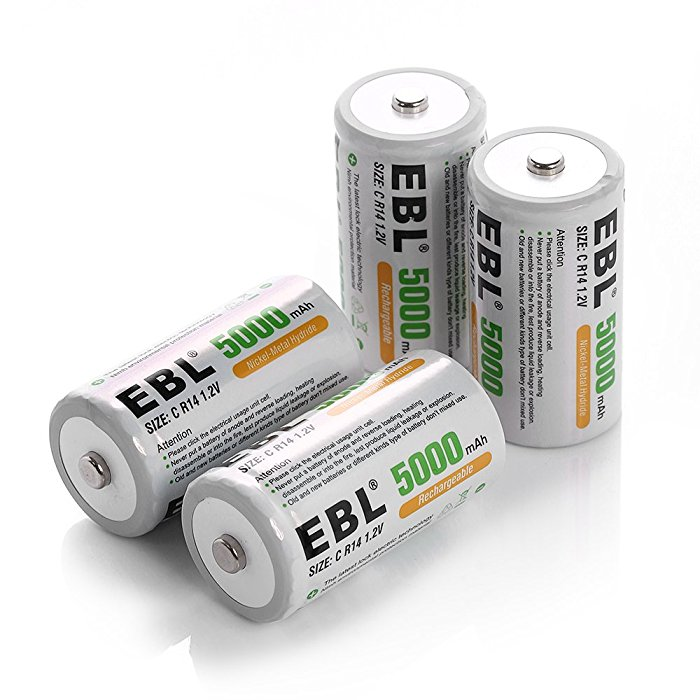 High Performance Rechargeable C Batteries 4 Pack