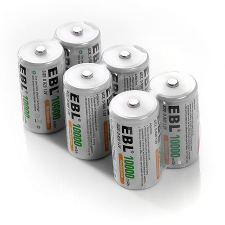 6 Pack EBL Rechargeable D Batteries 10000mAh