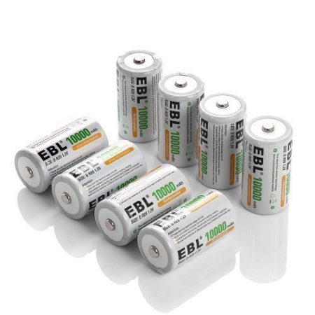 Rechargeable D Batteries 8 Pack for High Drain Devices