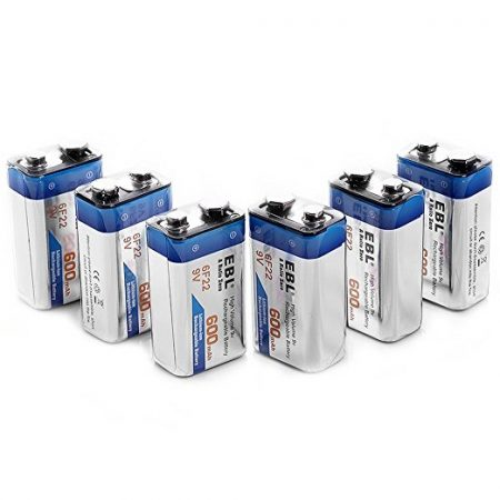 EBL 600mAh Rechargeable 9 Volt Lithium Ion Battery 6 Pack For Smoke Alarms