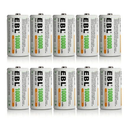 10 Pack D Size Rechargeable Batteries High Capacity