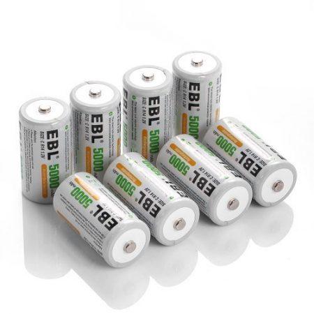 Professional EBL Rechargeable C Batteries 8 Pack