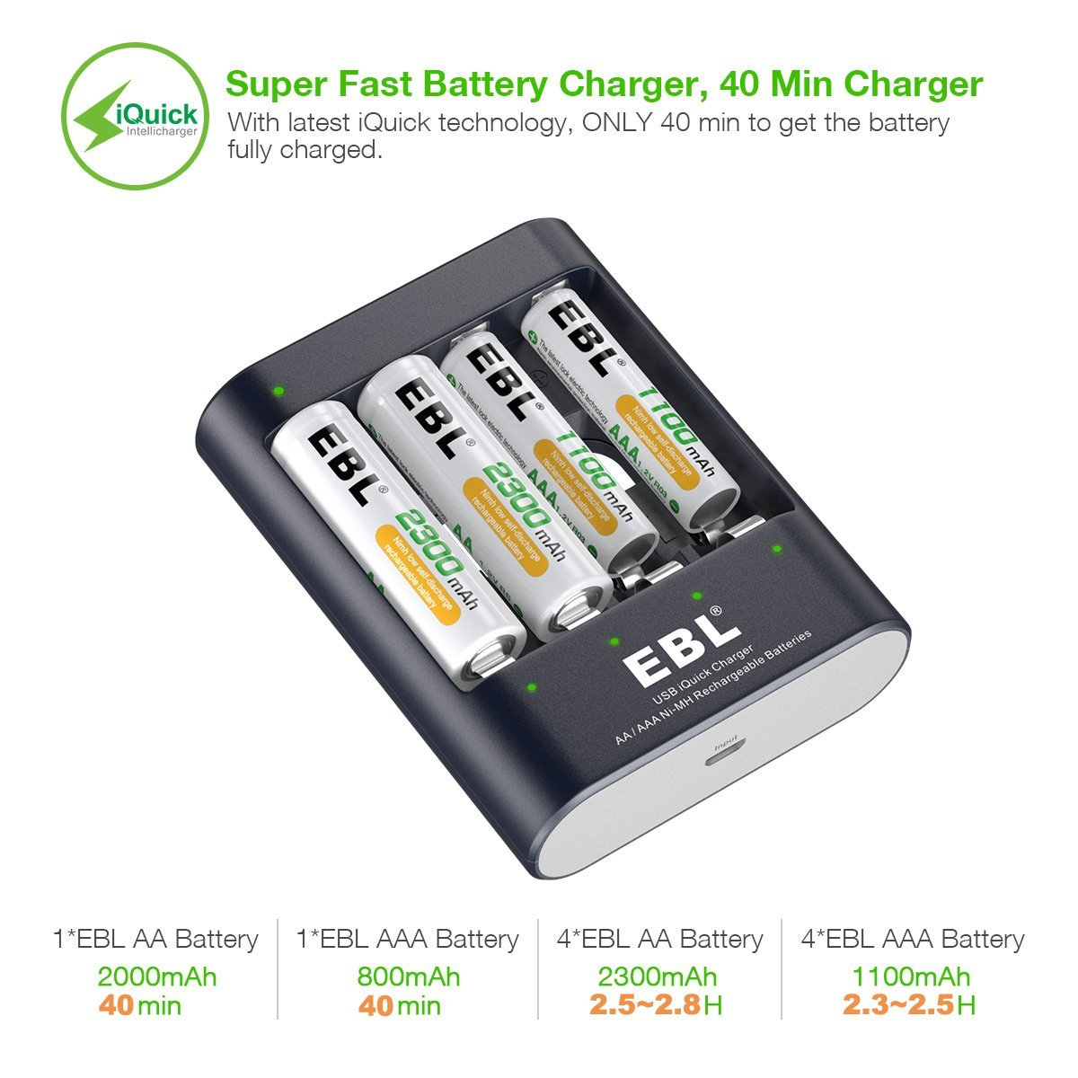 78f01eca019190 EBL 40Min iQuick Smart Battery Charger with USB Port and AA 2300mAh ...