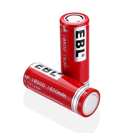 EBL 18500 Li-ion Rechargeable Battery 3.7V 1600mAh for LED Flashlight Torch, 2 Packs