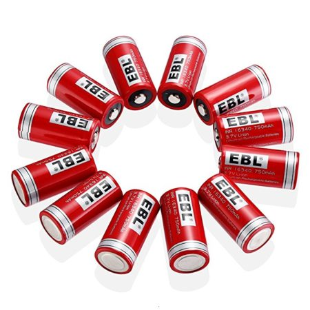 EBL 16340 Li-ion Rechargeable Batteries CR123A 750mAh 3.7V for LED Flashlight Torch, 12 Packs