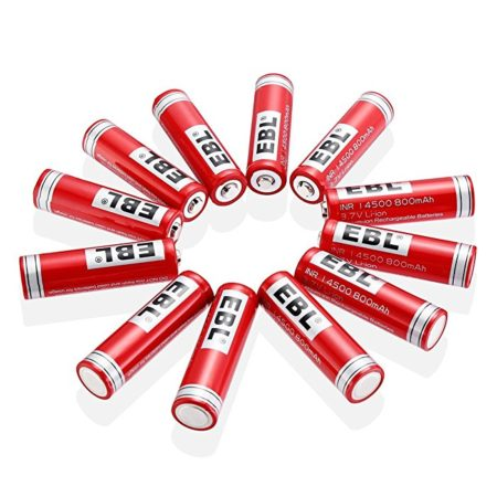 EBL 14500 Li-ion Rechargeable Batteries 3.7V 800mAh for LED Flashlight Torch, 16 Packs
