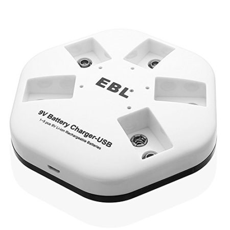 EBL iQuick USB 9V Battery Charger Lithium Battery Charger with 5 Charging Slots for 9V Rechargeable Batteries