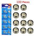 EBL Button Cell Alkaline Batteries, 100 Pieces for LR44 AG13 G13A A76 L1154