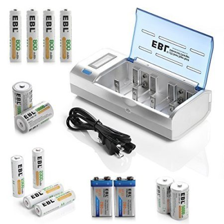 EBL Rechargeable Battery and Charger Combo, including 4-Pack 2300mAh AA, 4-Pack 800mAh AAA, 2-Pack 5000mAh C, 2-Pack 10000mAh D, 2-Pack 280mAh 9V Batteries and 1 Universal Charger