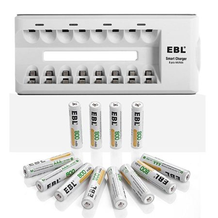 EBL 8 Slot AA/AAA Battery Charger and AAA Ni-MH Rechargeable Battery Set, 12-Pack 800mAh AAA Batteries