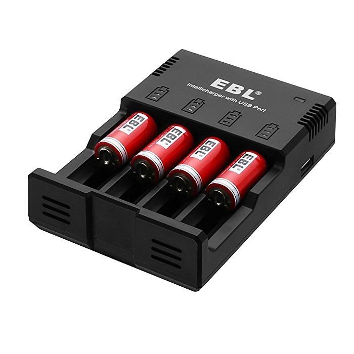 4 Count 16340 Li Ion Rechargeable Batteries With 996