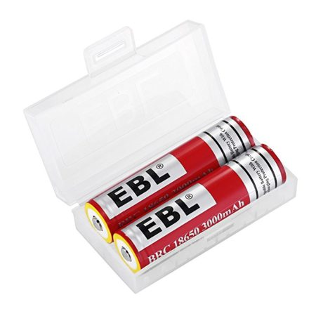 EBL Upraded 18650 Rechargeable Batteries with Strong Yellow Protective Rings, PCB Protected Batteries, 3000mAh, 3.7V, 2-Count