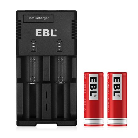 EBL 922 2-Bay Battery Charger and 18500 Rechargeable Batteries, Li-ion, 3.7V, 2-Pack