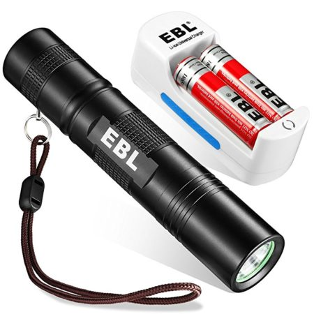EBL LED Tactical Flashlight, Compact Waterproof LED Flashlight with 5 Modes, with Battery Charger and 18650 0Rechargeable Batteries 2-Count 3000mAh