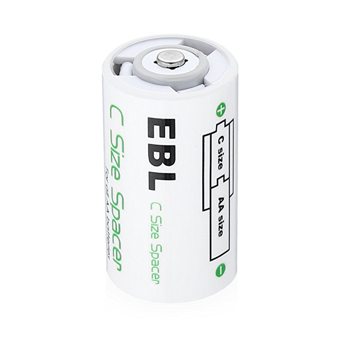 ABS Plastic C Battery Spacers for Rechargeable AA Cell