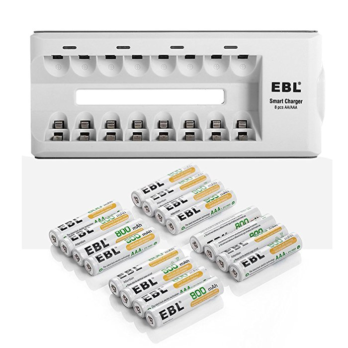 AAA 1.2 V 800mAh NiMH Rechargeable Batteries and Charger Combo