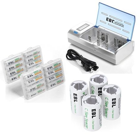 EBL 2800mAh AA Size Rechargeable Battery Kit with Charger / C Size Spacers