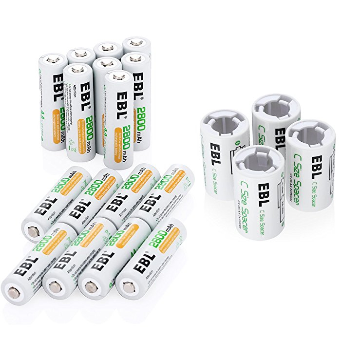 AA NiMH 2800mAh Rechargeable Batteries With C Size Spacers