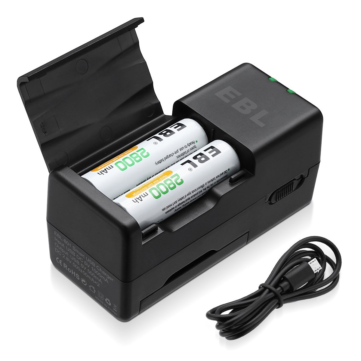 a91c569d497153 EBL Smart Battery Charger for 2/4 AA AAA Ni-MH Batteries with Power ...