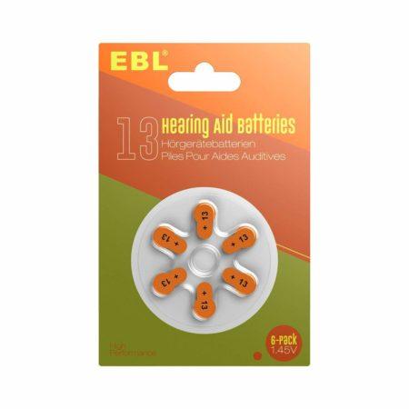Zinc Air Hearing Aid Batteries Size 13 Orange