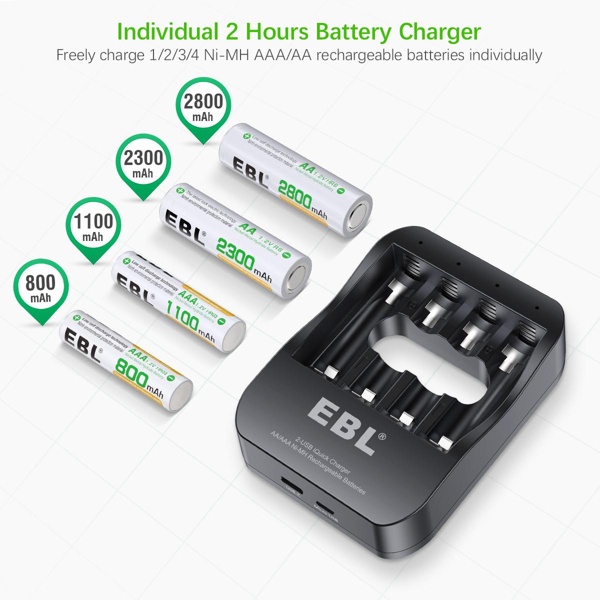 HD Display 4 Fach Batterieladeger/ät EBL Akku Ladeger/ät mit LCD Anzeige f/ür wiederaufladbare AA AAA Batterien NI-MH NI-Cd Akkus